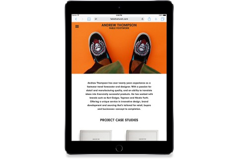 Fable Footwork Website, Andrew Thompson, Footwear Designer