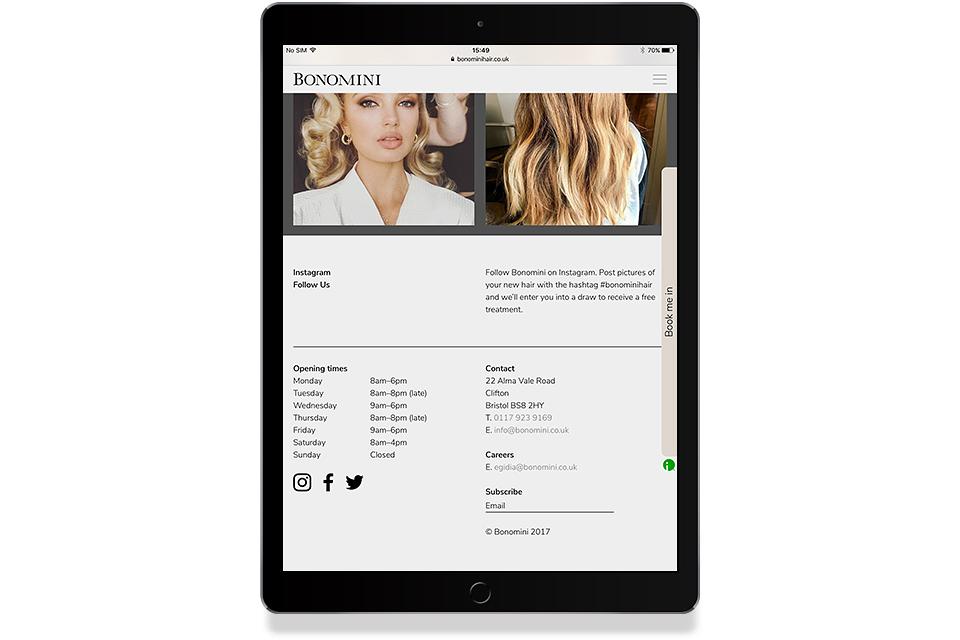 Bonomini Hair Website, Mike Bone Design