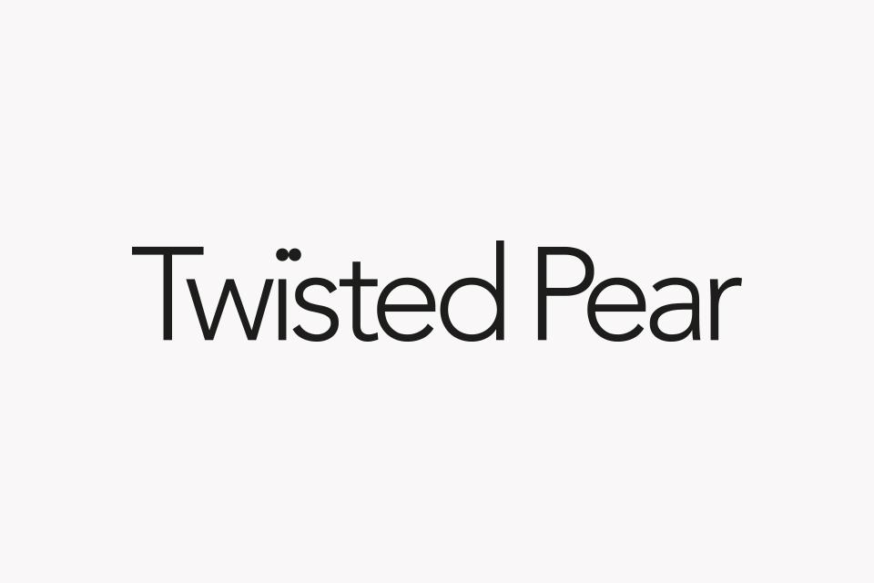 Twisted Pear logo, Identity, Brand