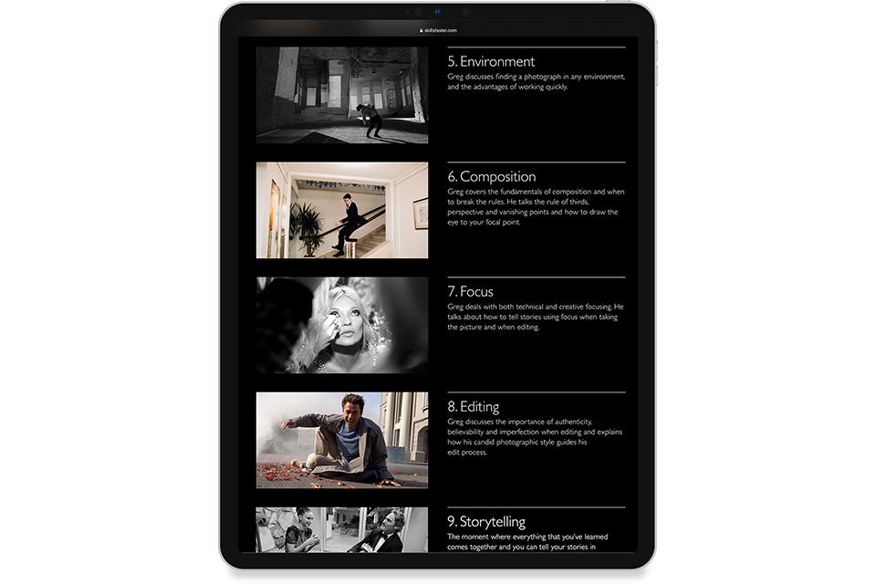 Skills Website, skills faster, greg williams, candid photography skills, mike bone design