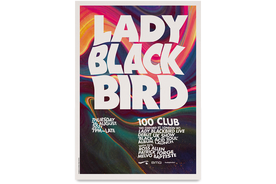 lady blackbird, 100 club, poster, london, black acid soul, foundation, foundation music productions, anni roenkae, ross allen, marley munroe